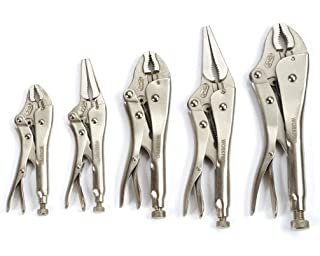 WORKPRO W001316A 5-Piece Locking Pliers Set(5/7/10 inch Curved Jaw Pliers,6.5/9 inch Long Nose Pliers)