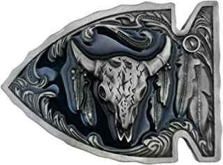 Lanxy Cool Western Cowboy Indian Arrowhead Bull Head skull Leaf Belt Buckle For Men Blue Enamel