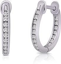 14K Solid Gold Genuine Diamond Inside-Outside Hoop Earrings (0.24 Cttw, Clarity-I2, Color-J)