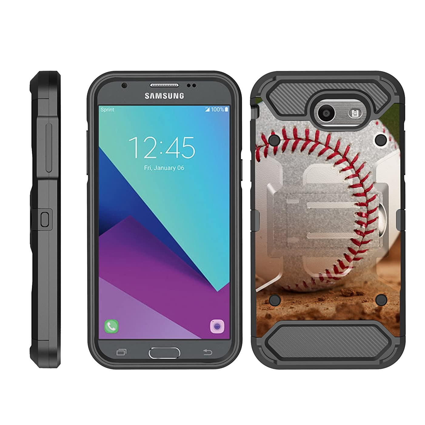 TurtleArmor | Compatible with Samsung Galaxy J3 Emerge Case | J3 (2017) | J3 Prime Case [Armor Pro] Heavy Duty Full Body Kickstand Holster Belt Clip Armor Case Sports and Games Design - Baseball Dirt
