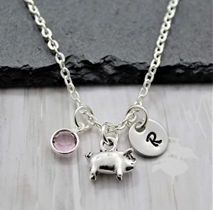 Pig Necklace - Silver Pig Shaped Jewelry - Pig Lover Gifts - Personalized Birthstone and Initial
