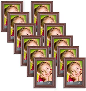 Icona Bay 4x6 Picture Frame (12 Pack, Teak Wood Finish), Photo Frame 4 x 6, Composite Wood Frame for Walls or Tables, Set of 12 Lakeland Collection