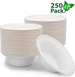 250 ct 12 oz Biodegradable Bowls, Compostable Bowls Bulk Eco Friendly Bowls, Paper Bowls Disposable