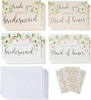 Sustainable Greetings 24-Pack Bridal Party Request Kit - 12 Bridesmaid and Maid of Honor Proposal Cards and 12 Thank You Cards, Envelopes Included, 4 x 6 Inches