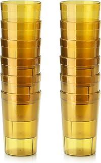 New Star Foodservice 46687 Tumbler Beverage Cups, Restaurant Quality, Plastic, 9.5 oz, Amber, Set of 12