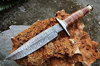 Image of Custom Handmade Damascus Hunting Knife Damascus Bowie Knife TOP NOTCH!