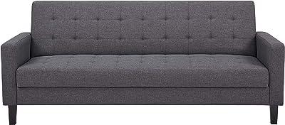 Amazon Basics - Divano letto a 3 posti - 204 x 85 x 81 cm, grigio scuro
