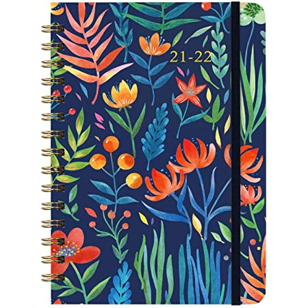 """2021- 2022 Planner - Weekly Monthly Planner with Tabs, 6.3"""" x 8.4"""", July 2021 - June 2021, Hardcover with Back Pocket + Thick Paper + Banded, Twin-Wire Binding - Navy Floral"""
