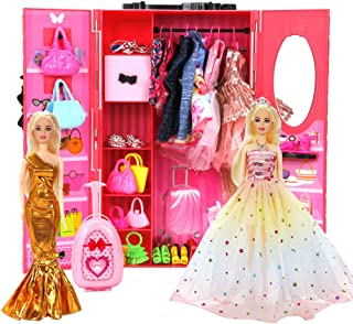 BiiMii 150 Pack Doll Closet Wardrobe Set Contain 19 Pack Complete Clothes and 131 Pieces Doll Accessories - Wardrobe, Shoe...