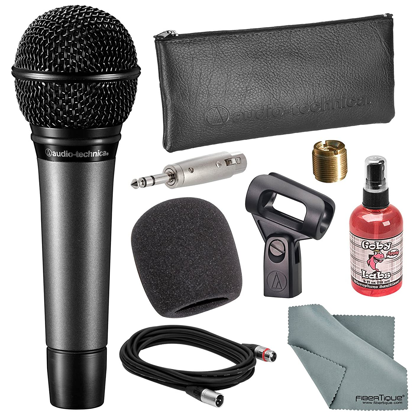 Audio-Technica ATM410 Cardioid Handheld Vocal Microphone Bundle with Windscreen + Mic Sanitizer + Adapter + XLR Cable + Fibertique Cloth