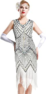 7738f592b7b BABEYOND Women s Flapper Dresses 1920s V Neck Beaded Fringed Great Gatsby  Dress