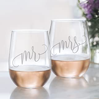 Bliss Collections Mr and Mrs Wine Glass Set - 20oz Etched Stemless Wine Glasses for Couples. Perfect Engagement Party, Bridal Shower, Bachelorette Party or Wedding Gift, LEAD FREE & BPA FREE