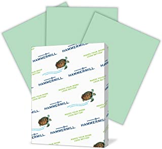 Hammermill Colored Paper, Green Printer Paper, 24lb, 8.5x11 Paper, Letter Size, 500 Sheets / 1 Ream, Pastel Paper, Colorful Paper (104380R)