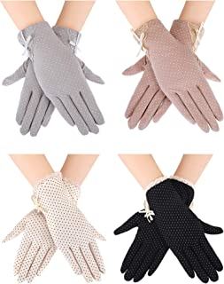 Blulu 4 Pairs Summer UV Protection Sunblock Gloves Non-slip Touchscreen Driving Gloves Bowknot Floral Gloves for Women Girls