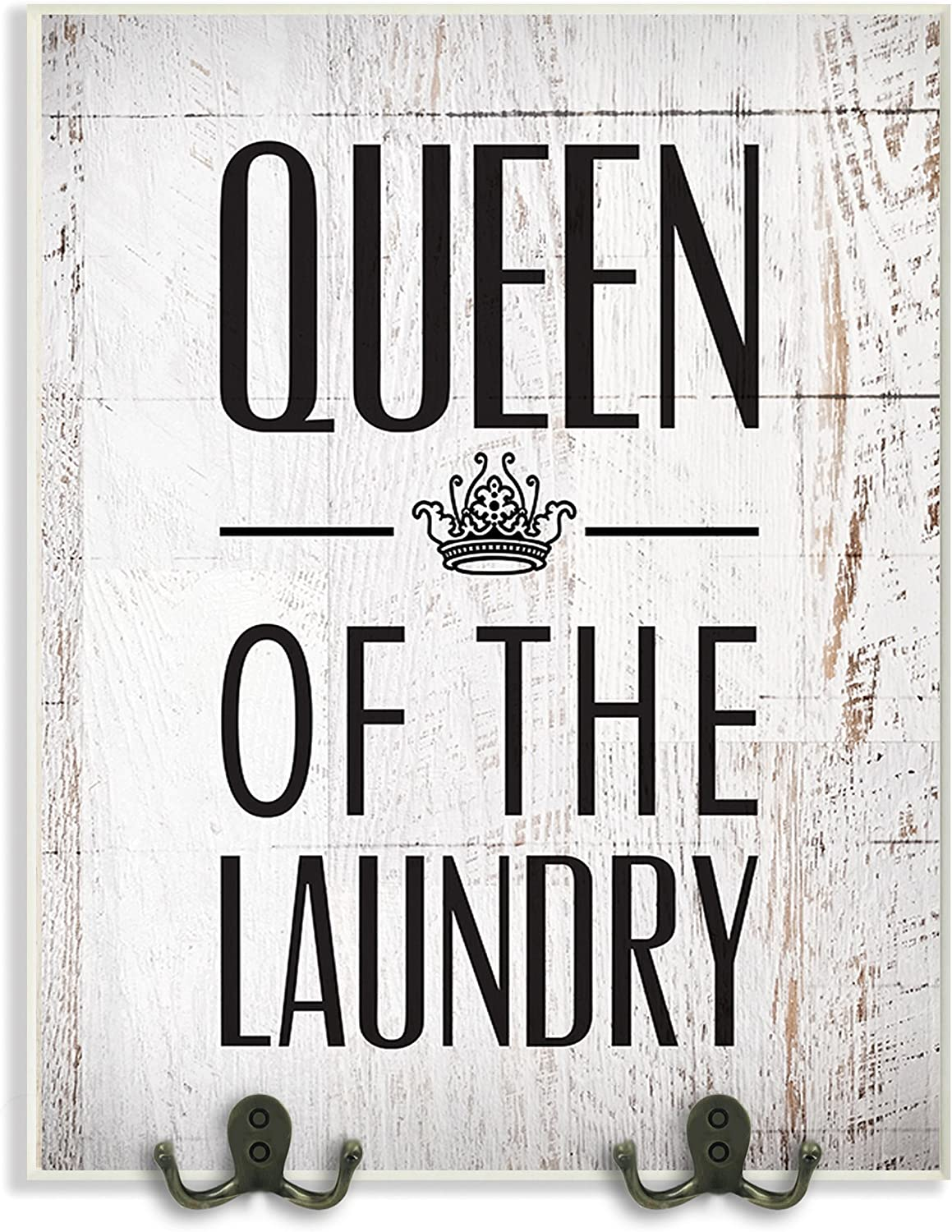 The Stupell Home Decor Collection Queen of The Laundry with Crown Bathroom Two Metal Hooks Wall Plaque