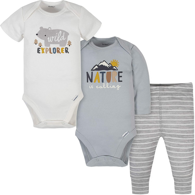 Soldering Gerber Baby Boys' 3-Piece Phoenix Mall Onesies and Pant Set Bodysuits