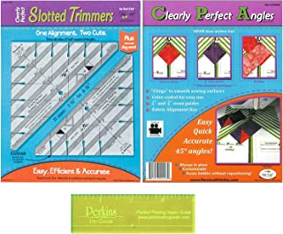 Quilting Supplies Kit for Accurate Seams - 3 Items: New Leaf Clearly Perfect Angles and Clearly Slotted Trimmers with Perkins Perfect Piecing Seam Guide