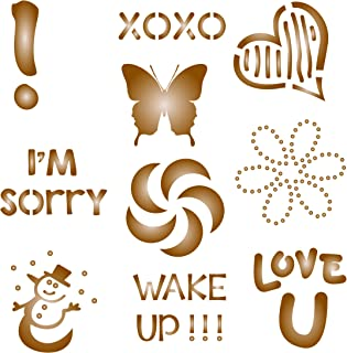 Coffee Set Stencil - 10 Designs - Reusable Barista Stencils for Decorating Cappuccino Coffee Latte Cupcakes Cakes Cookies Scrapbooking and more…