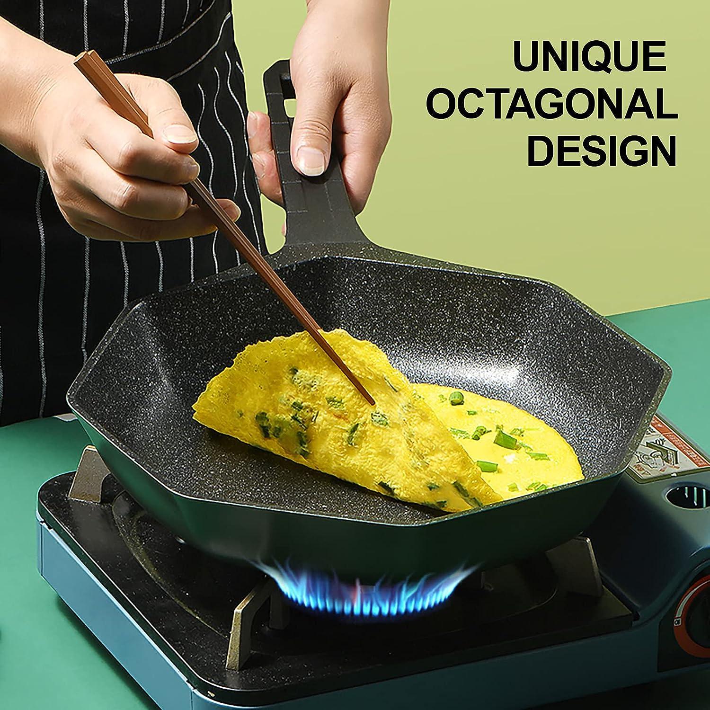 Nonstick Frying Pan, Octagonal Fry Skillet with Bakelite 8-Inch, Green