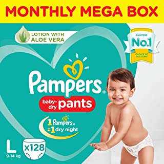 Pampers All round Protection Pants, Large size baby diapers (LG), 128 Count, Anti Rash diapers, Lotion with Aloe Vera