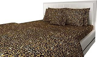 SGI bedding Queen Sheets Luxury Soft 100% Egyptian Cotton - Sheet Set for Queen Mattress Leopard Print 600 Thread Count Deep Pockets