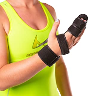 BraceAbility Hand & Two Finger Immobilizer | Buddy Splint Cast for Broken Joints, Trigger Finger Extension, Sprains and Contractures to Straighten Middle, Index & Pinky Knuckles (SMALL)