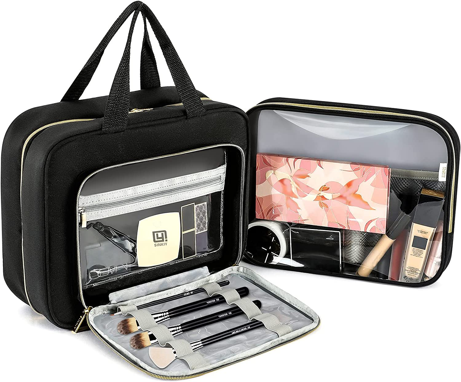 Large Hanging Toiletry Bags,SINKIY Travel Toiletry Bag Organizer with Hanging Hook, Water-resistant Cosmetic Makeup Bag Travel Organizer for Shampoo, Full Sized Container, Toiletries (Black)