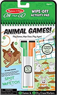 Melissa & Doug On The Go Animal Games Wipe-Off Activity Pad Reusable Travel Toy with 2 Dry-Erase Markers, Great Gift for Girls and Boys - Best for 6, 7, 8 Year Olds and Up