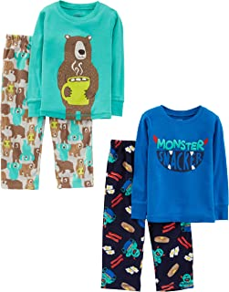 Simple Joys by Carter's 4-Piece Set Infant-and-Toddler-Pajama-Sets, Monster/Bear, 4T