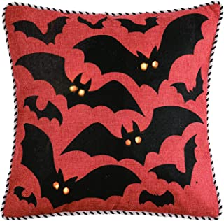 One Holiday Way Rustic Orange Halloween Decorative Light Up Throw Pillow - Bat or Witch (Bats)