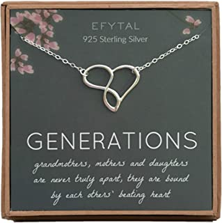 EFYTAL Grandma Gifts, 925 Sterling Silver Infinity Heart Necklace for Grandmother / Mother / Daughter / Granddaughter, Mom Necklaces for Women, Birthday Gift, Mother's Day Jewelry, Mothers Day