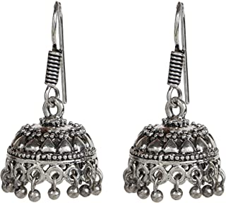 Oxidized Small Lightweight Jhumka Indian Earrings Jewelry for Girls and Women 1564