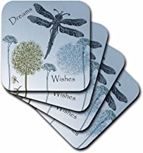 3dRose CST_79324_2 Dreams and Wishes Dandelions and Dragonflies Soft Coasters, Set of 8