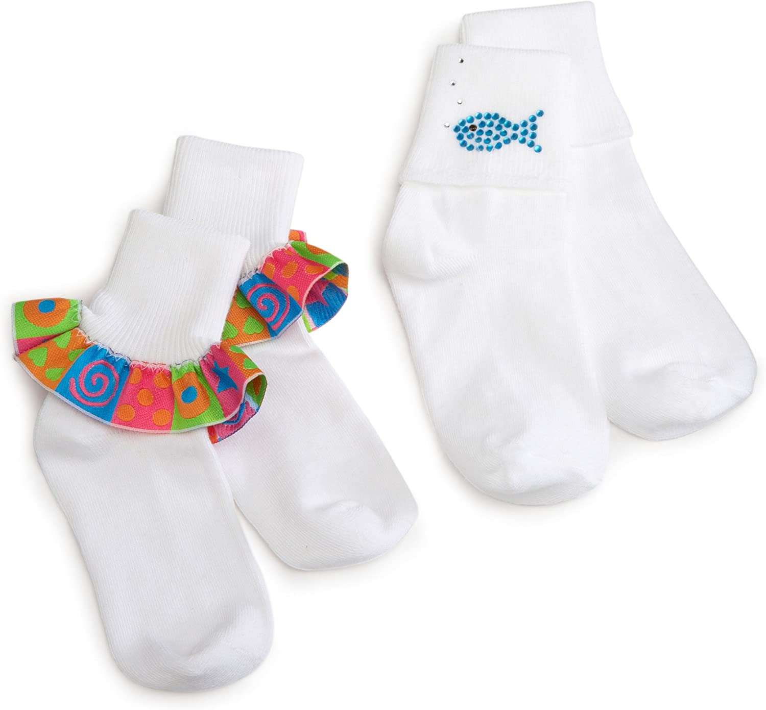 Jefferies Socks Little Girls' Stars And Swirls With Fishes Applique