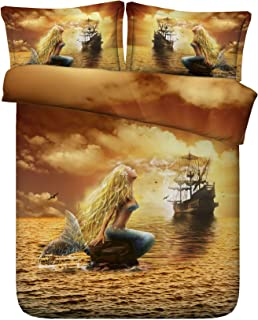 Royal Linen Source Drop Shipping 3PCS Beautiful Mermaid and Pirate Ship 3D Bed Set Twin Full Queen King Size (JF247, Queen)