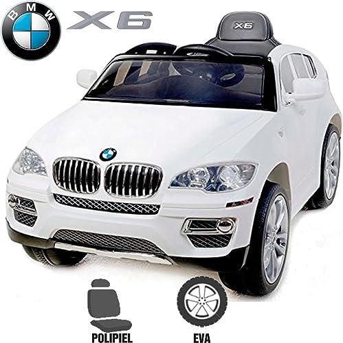 compra en línea hoy Babycoches Coche eléctrico para Niños BMW X6, X6, X6, LICENCIA OFICIAL BMW, mando parental, 12 V, monoplaza, ruedas caucho, asiento polipiel. Color blanco  descuento de ventas