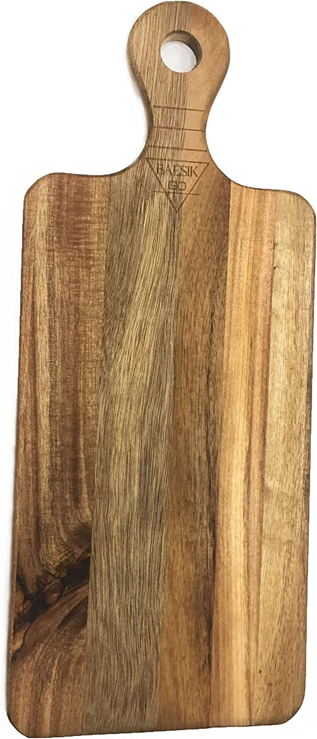 Paddle Cutting Board with Handle By BAESIKGO - Table Top Food Presentation Tray and Wood Cutting Board - Long Charcuterie Board For Cheese Fruit Meat - Kitchen Food Serving Platter