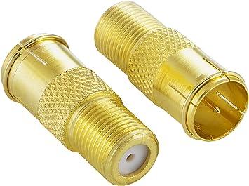 Poppstar 2X Adaptadores coaxiales para Cable de Antena (Conector F rápido Macho a Hembra), Acoplamiento coaxial, Dorado