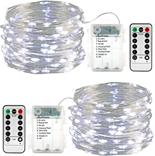 Battery String Lights, 2 Packs 33ft 100 Led Fairy Lights, Waterproof 8 Modes Battery Powered String Lights with Remote & Timer for Indoor/Outdoor, Party, Wedding, Holiday, Christmas Decor (White)
