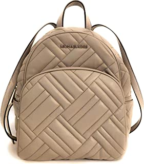 Abbey Medium Quilted Leather Backpack Pearl Grey