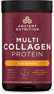 Ancient Nutrition Multi Collagen Protein Powder, Gut Restore, Lemon Ginger Flavor, 5 Types of Food Sourced Collagen Peptides, Supports Gut,Joints, Skin and Nails, Made without Dairy or Gluten, 10.3 oz