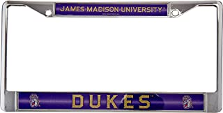 NCAA Rico Industries  Bling Chrome License Plate Frame with Glitter Accent, James Madison Dukes