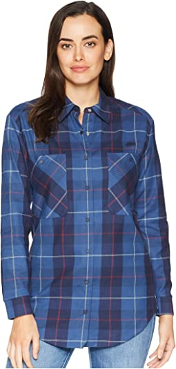Long Sleeve Shaded Tartan Woven Check Cotton Shirt