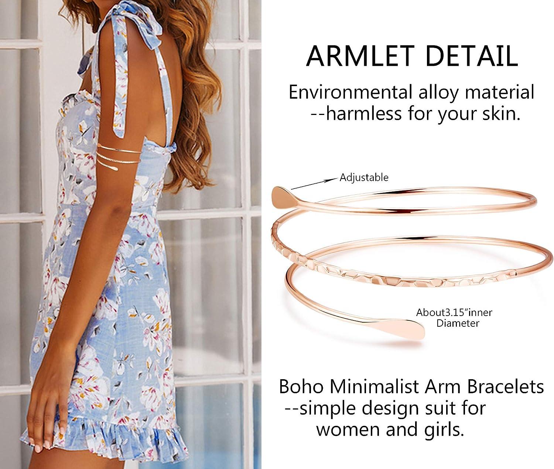 Jstyle 4Pcs Coil Upper Arm Cuff Open Arm Bracelet for Women Victorian Filigree Swirl Boho Armband Bangle Armlet Adjustable