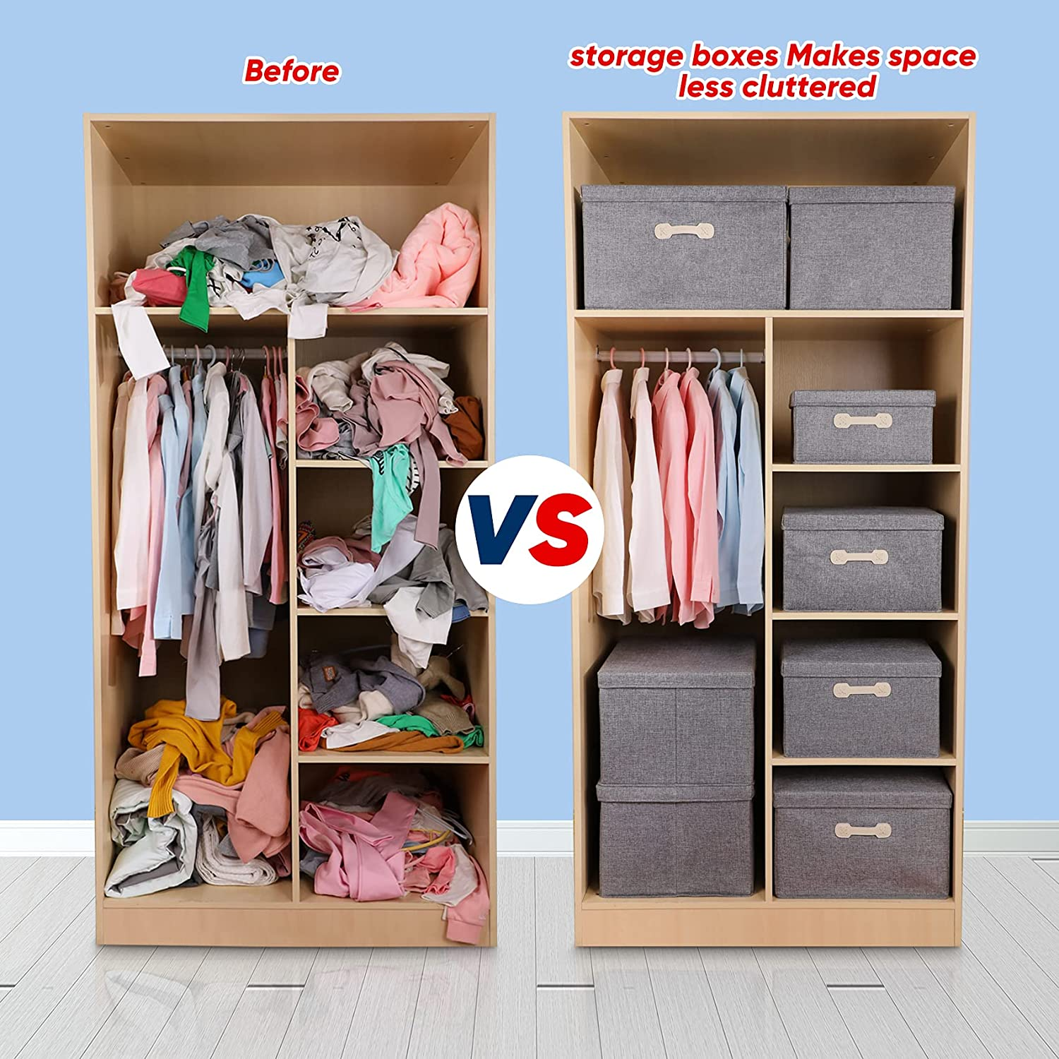 JOYBOS Storage Bins with Lids, Foldable Linen Fabric Storage Boxes with  Lids, Collapsible Closet Organizer Containers with Cover for Home Bedroom  ...