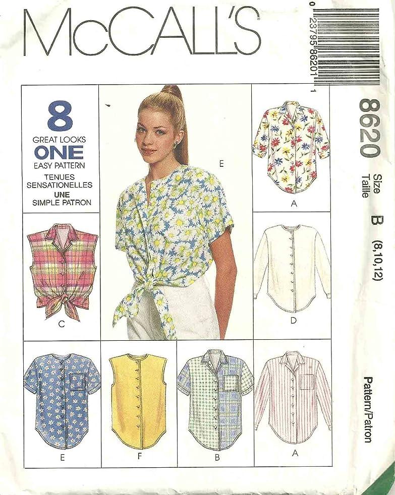 McCall's Pattern 8620 Misses' Shirts, Size B (8,10,12)