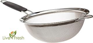 Colador LiveFresh premium con malla fina de acero inoxidable - 19,5 cm - Cuele, tamice y filtre quinoa, arroz, harina, pasta y otros productos con el colador más resistente y fiable del mercado