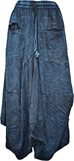 Gheri Womens Cotton Distressed Open Pocket Hi Low Skirt