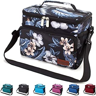 Leakproof Reusable Insulated Cooler Lunch Bag - Office Work Picnic Hiking Beach Lunch Box Organizer with Adjustable Shoulder Strap for Women,Men-Black Flower