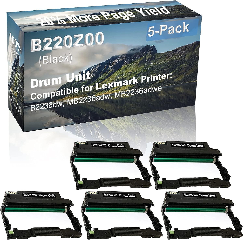 5-Pack (Black) Compatible B2236dw, MB2236adw, MB2236adwe Printer Drum Unit Replacement for Lexmark B220Z00 Drum Kit